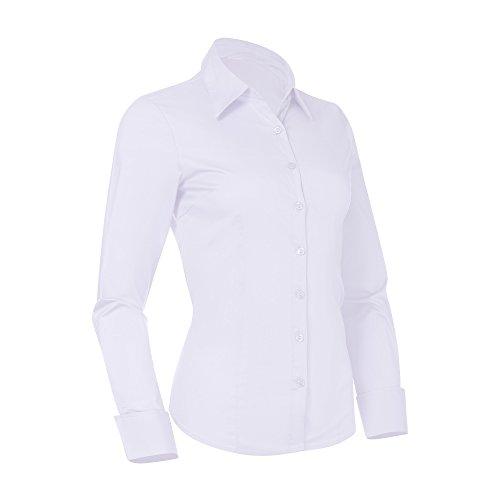 Pier 17 Button Down Shirts for Women, Fitted Long Sleeve Tailored Shirt Blouse (Medium, White)