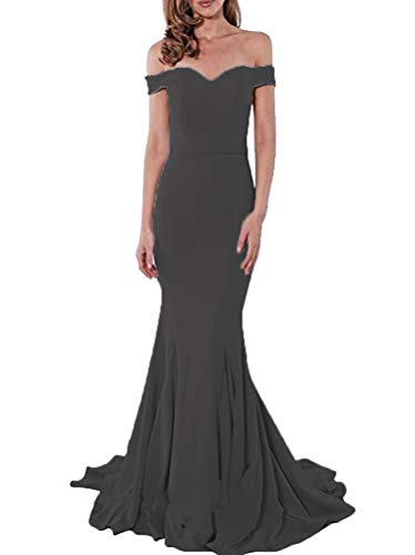 Shoulder Sweep One - PearlBridal Women's Simple Off The Shoulder Mermaid Prom Dresses 2019 Long Evening Gowns with Sweep Train Black Size 18plus