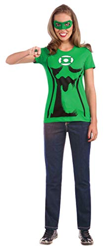 Rubie's Costume DC Comics Women's Green Lantern T-Shirt With Eye Mask And Ring, Green, Medium -