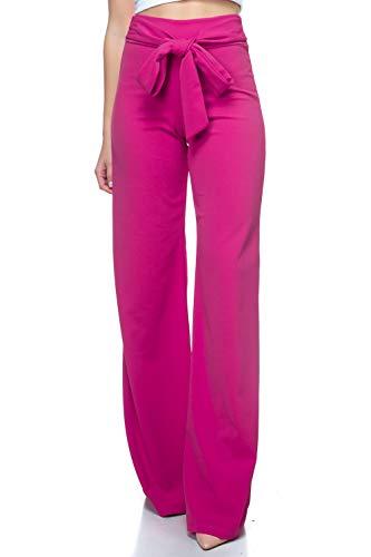 Women's J2 Love Front Tie Palazzo Pants, Medium, Fuchsia