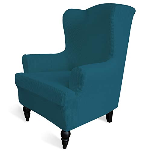 Easy-Going Stretch Sofa Slipcover 1-Piece Sofa Cover Furniture Protector Couch Soft with Elastic Bottom Anti-Slip Foam Kids, Spandex Jacquard Fabric Small Checks(Wing Chair,Peacock Blue) (Chair Comfy Wingback)