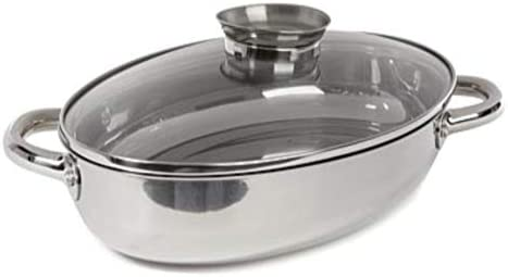Wolfgang Puck 15 Shallow Oval Roaster with Basting Knob Lid