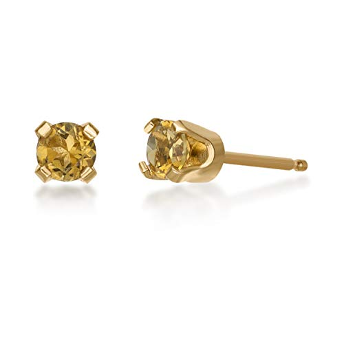 (.20 CT Round 3MM Yellow Citrine 14K Yellow Gold Stud Birthstone Earrings)