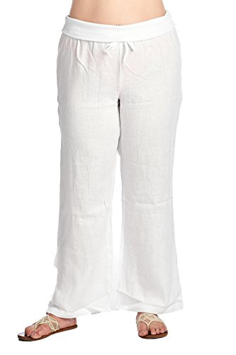 High Style Women's Plus Size Full Length fold Over 100% Linen Pants with Drawstring tie (003A_P, SolidWhite, 18W) by High Style