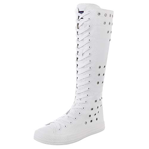rismart Women Fashion Knee High Lace-Up Canvas Boots Pure White Zip Dance Boots Eyelets SN813 US8
