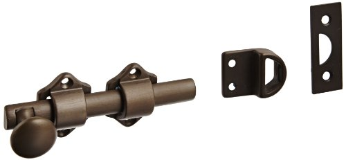 Rockwood 630-4.10B Solid Brass Surface Bolt with Universal And Mortise Strike, 2 Guide, 4