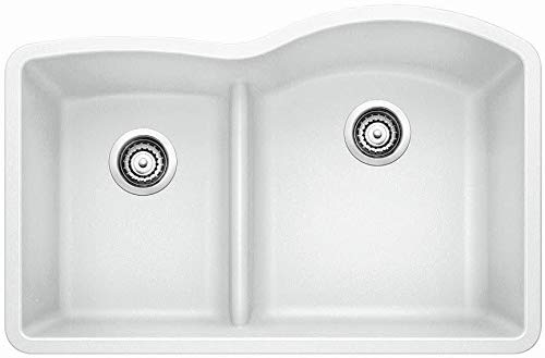Blanco 441603 Diamond 1.75 Low Divide Under Mount Reverse Kitchen Sink, Large, White