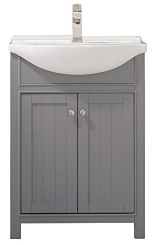 """LUCA Kitchen & Bath LC24HGP Carson 24"""" Bathroom Vanity Set in French Gray with Integrated Porcelain Top - Fully-assembled solid hardwood cabinet measures 24-inch wide by 17 1/2-inch deep by 34-inch tall in semi-gloss finish with water resistant low V. O. C Sealer Porcelain integrated countertop and sink with overflow and center set 1-hole faucet mount. (Drains and Faucet are not included) 2 soft-closing cabinet doors with adjustable hinges and satin Nickel hardware - bathroom-vanities, bathroom-fixtures-hardware, bathroom - 31TVVSj4FPL -"""