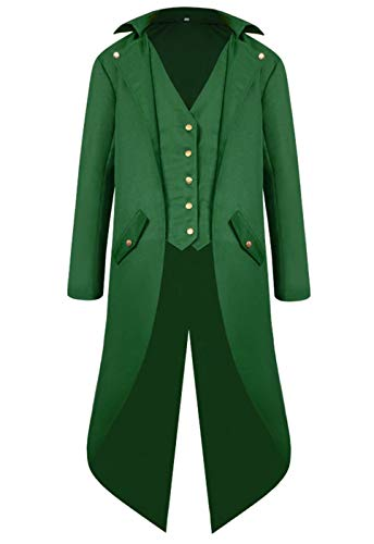 Onancehim  Mens Gothic Tailcoat Jacket Gothic Swallow-Tailed Coat Halloween Costume Long Coat (Green, L) -