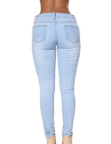 Mujeres De Ropa Fit Adelina Vaqueros Pantalones Slim Para Rectos Cintura Alta Hellblau Rasgados wFg4UA