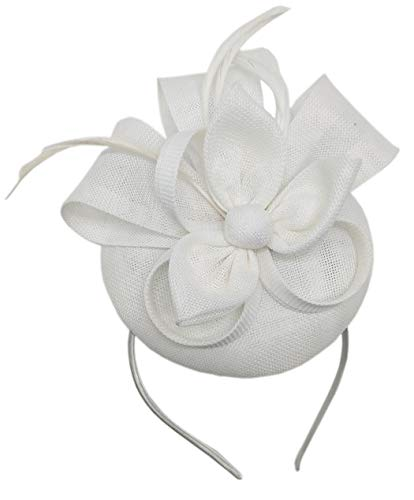 Biruil Women's Fascinator Hat Imitation Sinamay Feather Tea Party Pillbox Flower Derby (ZA White) -