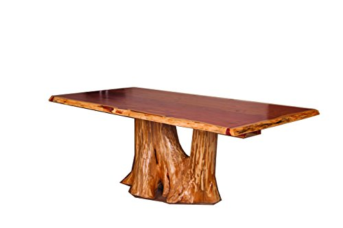 Rustic Red Cedar Log Stump Dining Table - Amish Made in the USA