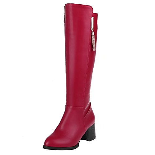 AIYOUMEI Damen Blockabsatz Kniehohe Stiefel mit 6cm Absatz und Reißverschluss Bequem Chunky Heel Stiefel Rot