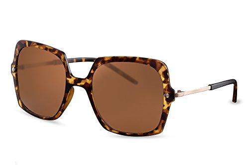 Cheapass Lunettes de Soleil style yeux de chat noires marron Lunettes de soleil designer imprimé de lion UV-400 surdimensionnées XXL faites de métal femmes dames Marron5