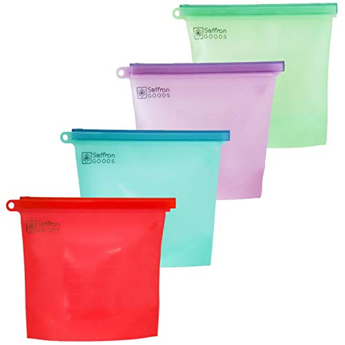 Fill and Slide Reusable Silicone Food Storage Bags by Saffron Goods - 4 pack - Leakproof, Airtight Seal to Keep Foods Fresh - Eco Friendly Alternative to Sandwich, Freezer, and Snack Bags-FDA Approved