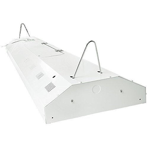 Four Bros Lighting 4-lamp T8 High Bay Fluorescent Lighting Fixture - 32W 10,000 Lumens Bulbs Included - Universal Voltage 120-277V - For Ceilings Below 15 Feet - DLC Premium & UL Listed - Commercial G by Four Bros Lighting (Image #3)