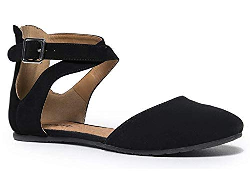 SODA Kiner Girls Darling Almond Toe Criss Cross Ankle Strap Flat (9 Litte Kid, Black)]()