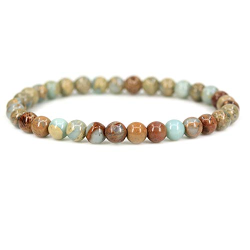 Natural Serpentine Gemstone 6mm Round Beads Stretch Bracelet 7