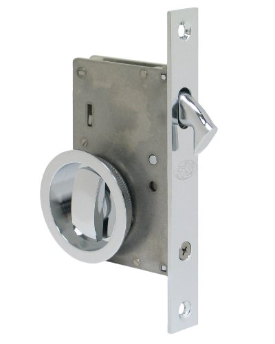 Pocket Door Mortise Lock (Series 2000 by FPL- Solid Brass Pocket Door Mortise Lock Set in Privacy - Bed / Bath Function, Polished Chrome,)
