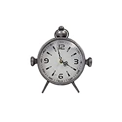 Designstyles Metal Vintage Desk Clock - Classic Analog Shelf Clock for Office, Bedroom, Living Room - Decorative Table Top Design - Battery Operated