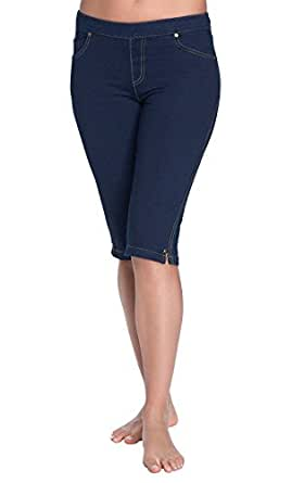 PajamaJeans Women's Knee-Length Stretch Knit Denim Shorts, Indigo, XS 0-2