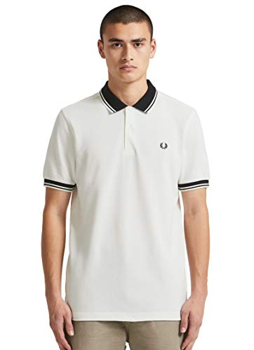 (Fred Perry Men's Contrast Rib Pique Shirt, Snow White)