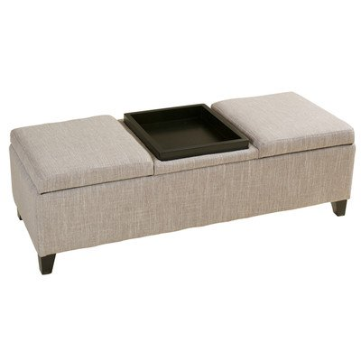 14' Rectangle Tray (Rectangle Storage Ottoman with Tray in the Middle Made w/ Fabric and Wood in Beige and Brown 16'' H x 50.5'' W x 19.25'' D in.)