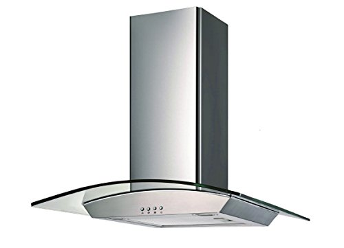 Ancona GCP436 Wall-Mounted Glass Canopy Style Convertible Range Hood, 36-Inch, Stainless Steel (Microwave The Above Stove)