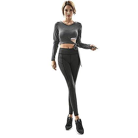 TOOGOO Dry Fit Sports Fitness Traje Mujer Gris Sport Wear Mujer ...