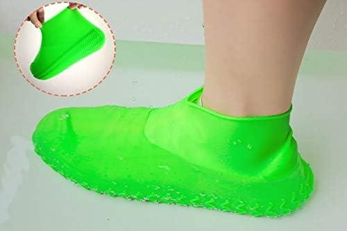 XHYRB 防水靴カバー、シリコーン防水靴カバー、男性と女性のための非濡れた靴は、太いノンスリップは、カバーバッグアウトドアプレイウォータースポーツシューズに配置することができます(赤、28から46) 防水靴、防雨カバー、長靴 (Color : Green, Size : Sl(43-46))