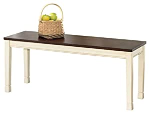 picture of Signature Design by Ashley - Whitesburg Large Dining Room Bench - Casual Style - Brown/Cottage White