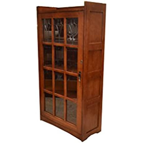 Crafters And Weavers Mission Solid Oak 1 Door Bookcase With Leaded Glass