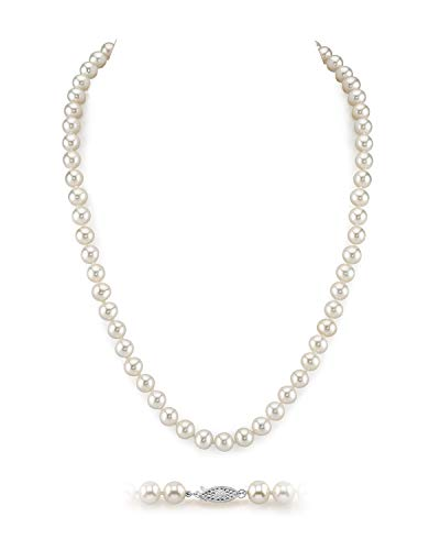 """THE PEARL SOURCE 6.5-7mm AAA Quality Round White Freshwater Cultured Pearl Necklace for Women in 16"""" Choker Length"""