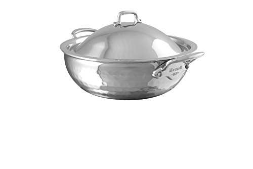 Mauviel 5272.21 M'Elite Curved Splayed Saute Pan with Lid, 7.9, Stainless by Mauviel