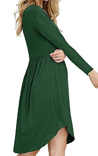 up Dark Pleated Swing High Green Dress Button Jaycargogo Long Women's Waist Sleeve vxZOEO