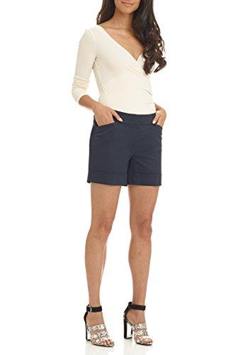 Rekucci Women's Stretch Cotton Spandex Cuffed Perfect Chino Short (18,Dark Navy)