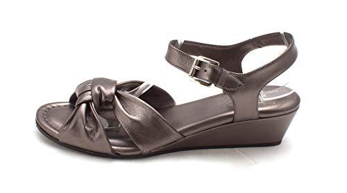 Amalfi by Rangoni Womens Mandy Open Toe Casual Ankle Strap, Pewter, Size - Mandy Sandal