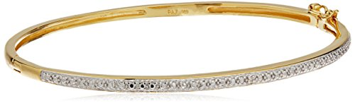 Bangle Yellow Gold Diamond (18k Yellow Gold Plated Sterling Silver Two Tone Diamond Accent Bangle Bracelet, 7.25