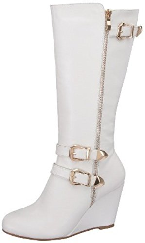 DEV New Fashion Women's Forever Paola Strap Buckle Zip Wedge Knee High Boot Shoes Zip Knee Boot
