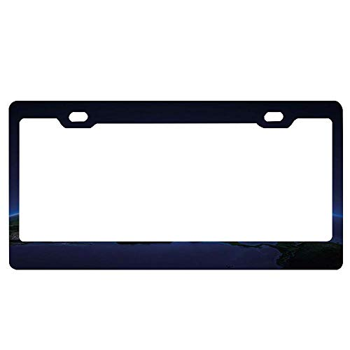SportsFloraling Vintage Halloween,Halloween Symbols Happy Holiday Witch Lives Here Broomstick Spider Web,Black White Car Licence Plate Cover Holder Slim Design for US Vehicles, 2 Hole and -