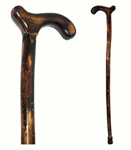 Natural Wood Walking Stick - Handcrafted Wooden Offset Cane for Men or Women (Smooth Derby Handle) ()