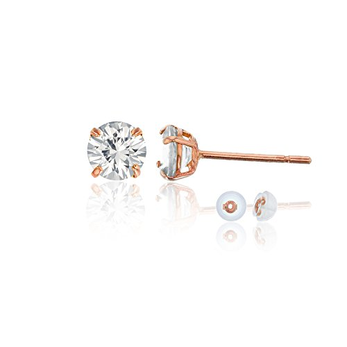 14K Rose Gold 4mm Round White Sapphire Stud Earring by Decadence