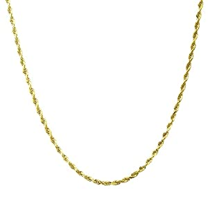14K Gold 1.5MM, 2MM, 2.5MM, 3MM, 4MM, 5MM or 7MM Diamond Cut Rope Chain Necklace, Bracelet, or Anklet – Sizes 7″-30″ – Choose Your Color