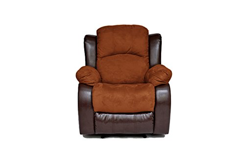 Oversized 3 Way Recliner (Classic and Traditional Brush Microfiber and Bonded Leather Recliner Chair (Brown))