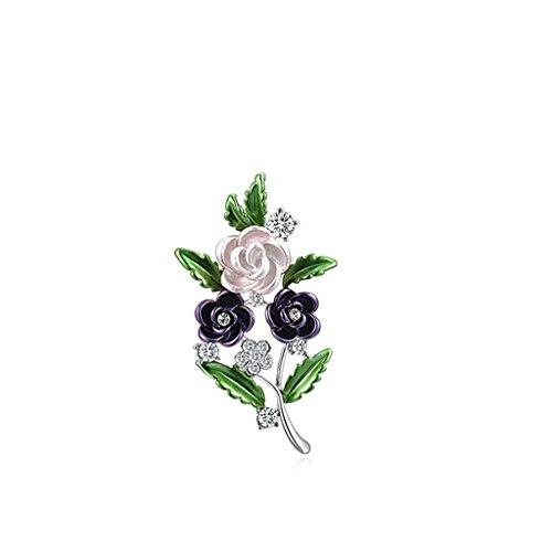 """""""Jardin du Printemps"""" Anazoz Bijoux Elégant Broche Fleur Violette et Rose"""