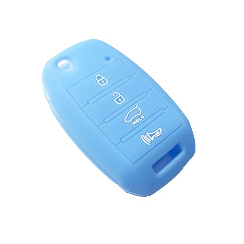 New Protect Sky Blue Silicone Remote Smart 4 Buttons Key Holder Cover Bag Fob for KIA Sorento Carens Forte Rio Soul Optima Sportage