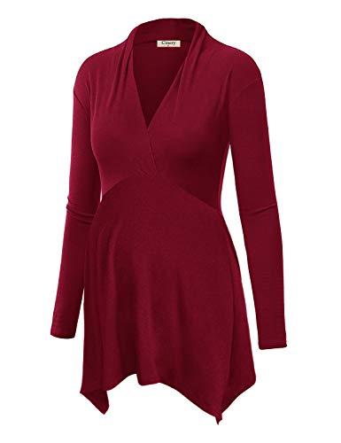 Pregnancy Outfit - Cinery Cute Pregnancy Outfits, Women's Tunic Tops Cross V Neck Long Sleeve Autumn Empire Waist Asymmetric Hem Maternity Ruching T-Shirt (Red XL)