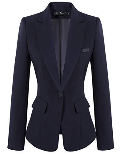 SHUIANGRAN Women's Long Sleeve Slim Office Suit Blazer Career Jackets for Women Blue US 6 (tag Asian -