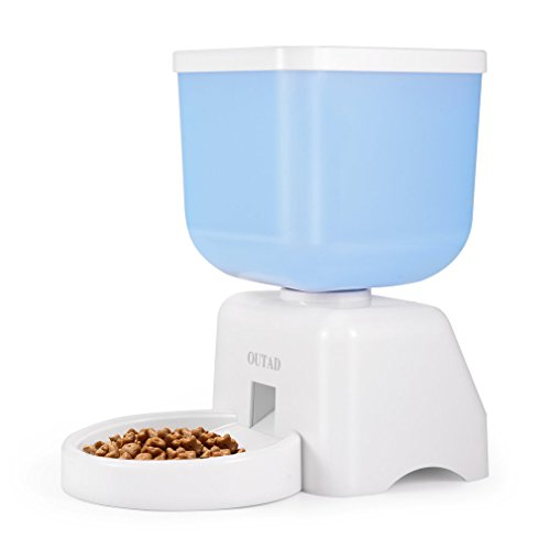 Pet Feeder 5 Liters LCD Dispaly Capacity Pet Automatic Feeder with Voice Recorder and Timer Programmable for Medium and Small Animals Dogs and Cats Bucket Feeder (white)