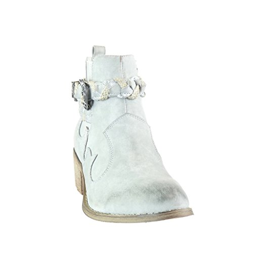 tanga Talón Angkorly ancho mujer Tacón Vaquero Moda de cavalier trenzado Hebilla chelsea boots CM Gris Botines 5 santiags Zapatillas cowboy 6x6wPB